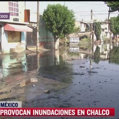 Lluvia inunda calles del municipio de Chalco, Estado de México