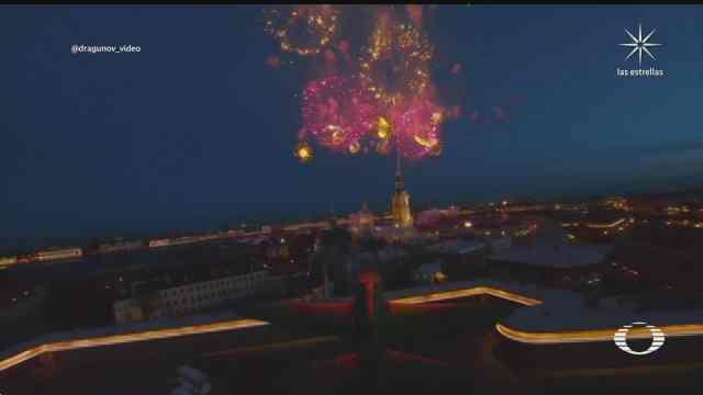 dron capta celebracion del dia de la victoria en rusia