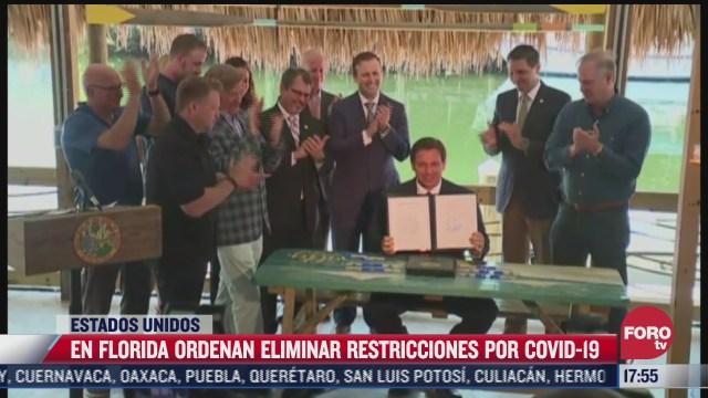 florida ordena eliminar restricciones por covid