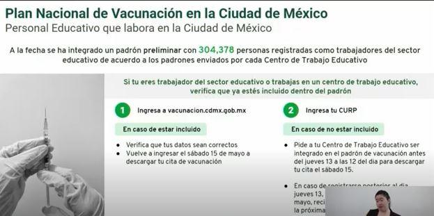 Plan de vacunación para maestros en CDMX