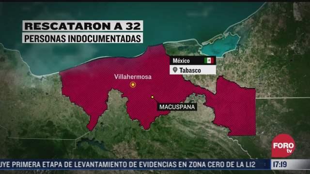 rescatan a 32 indocumentados en tabasco