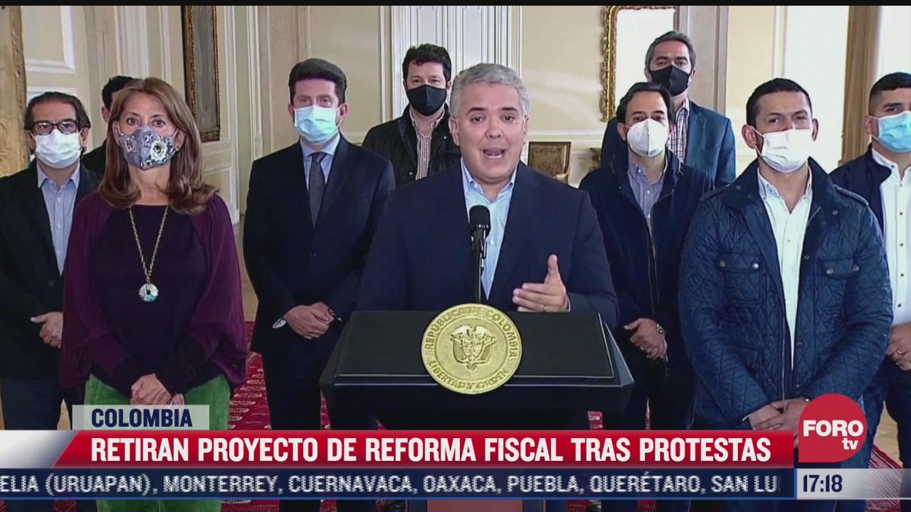 retiran proyecto de reforma fiscal tras protestas en colombia