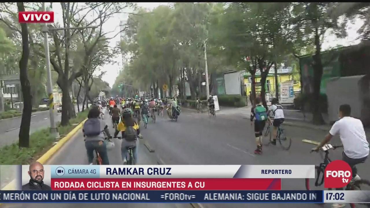 rodada ciclista afecta circulacion en avenida insurgentes