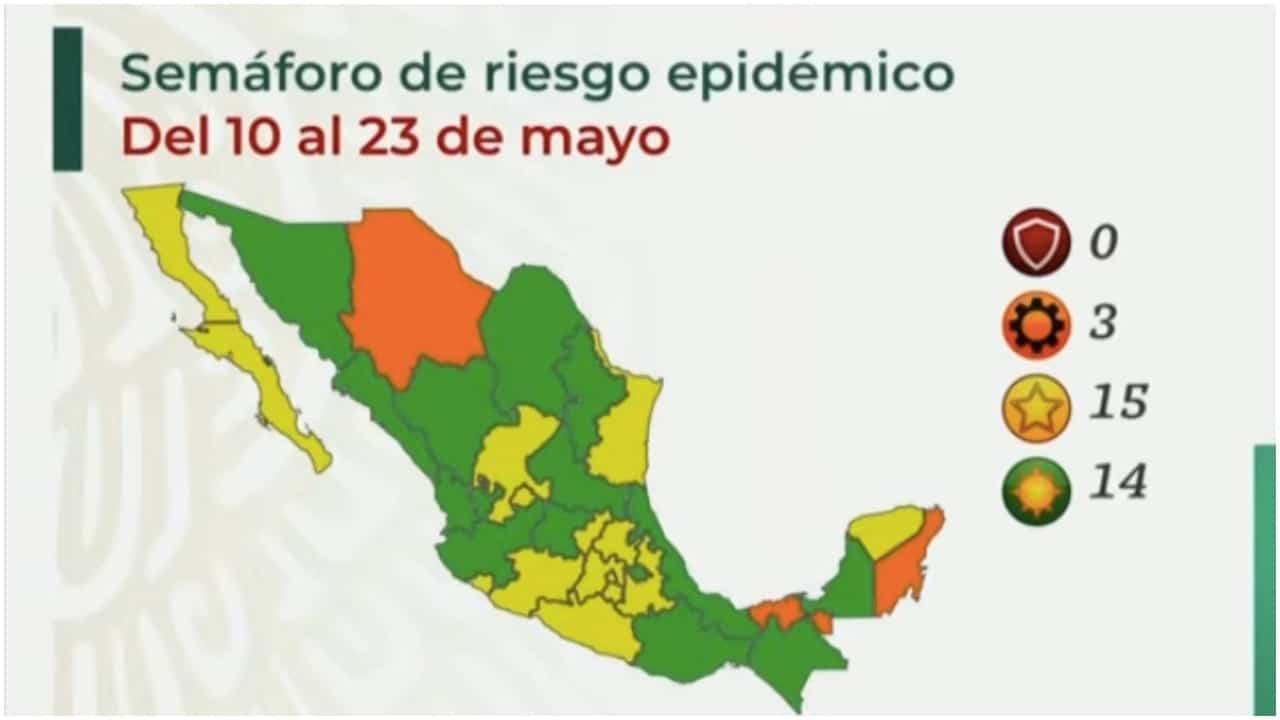 México avanza hacia la aurora en el semáforo COVID; 14 estados están en verde y 15 en amarillo