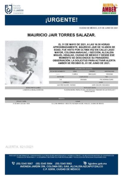 Activan Alerta Amber para localizar a Mauricio Jaír Torres Salazar