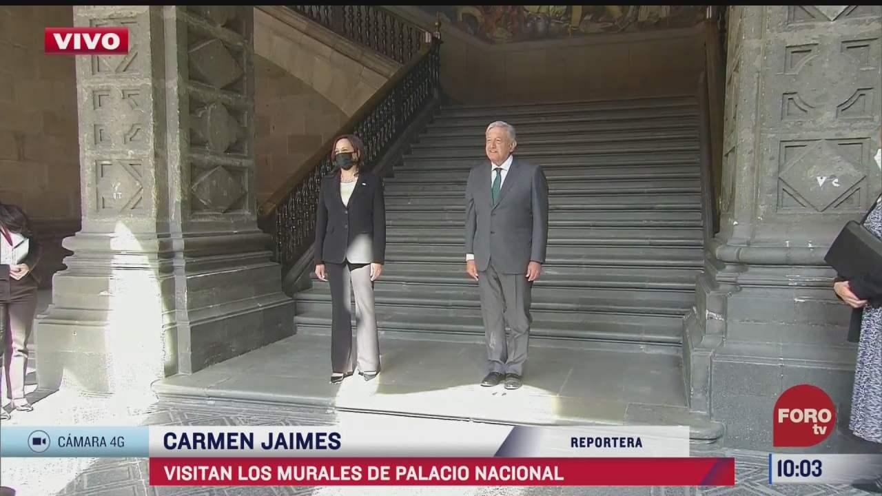 amlo recibe a kamala harris en palacio nacional