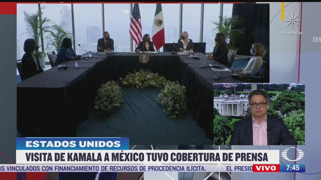 cadenas estadounidenses informaron de manera general sobre visita de harris a mexico