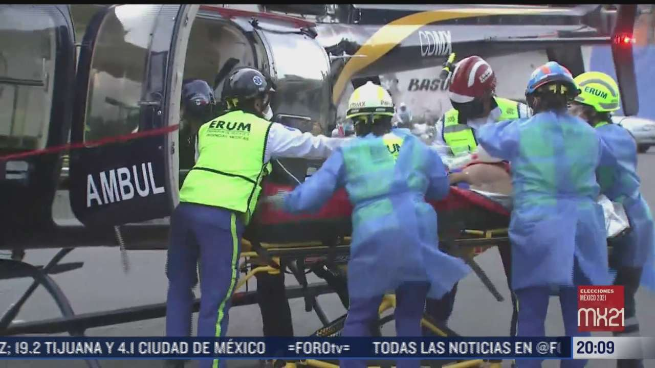 helicoptero condor traslada a menor lesionado en central de abasto