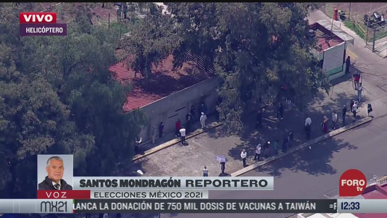 Así se ven desde helicóptero de Noticieros Televisa las largas filas para votar en elecciones 2021