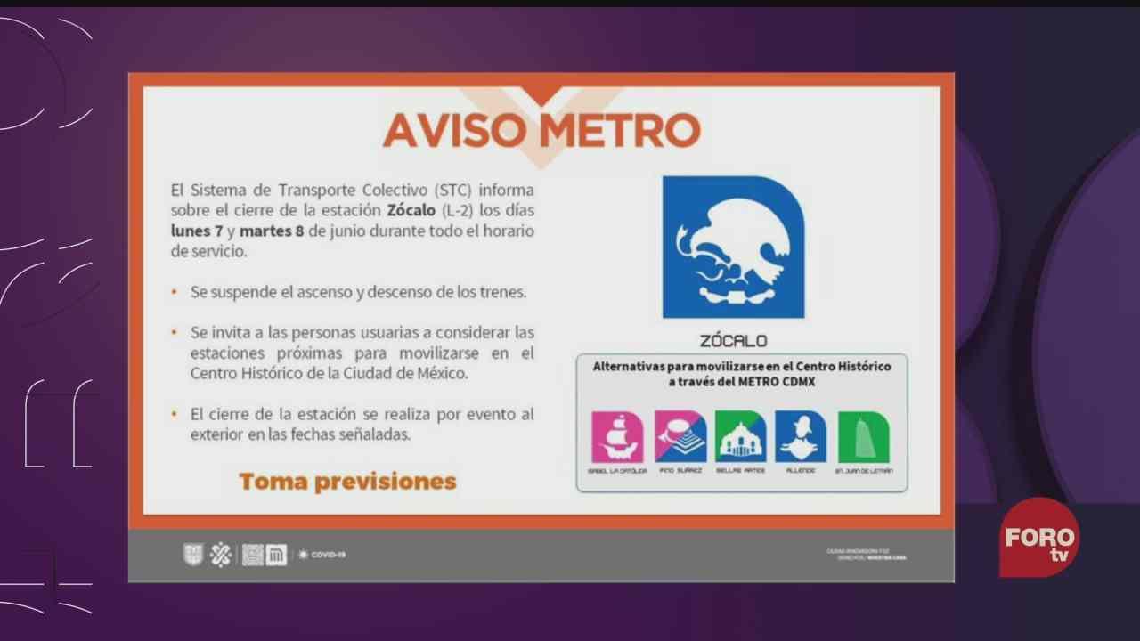 metro zocalo sin servicio este 7 y 8 de junio