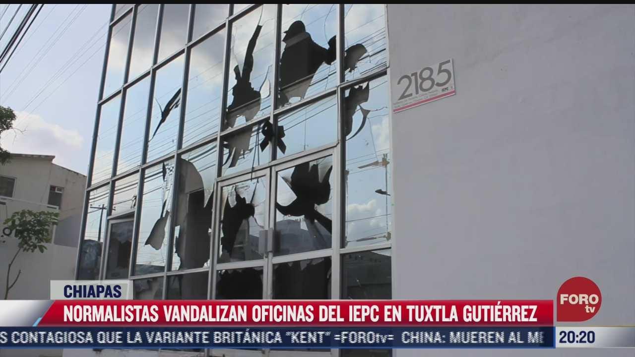 normalistas vandalizan oficinas electorales en chiapas