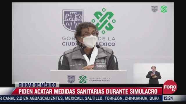 piden acatar medidas sanitarias durante simulacro en cdmx