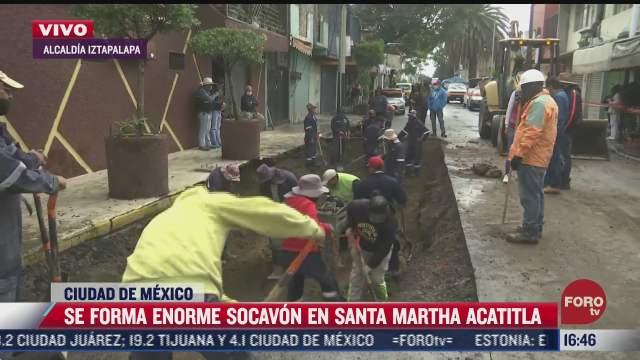 trabajan para tapar socavon en santa martha acatitla