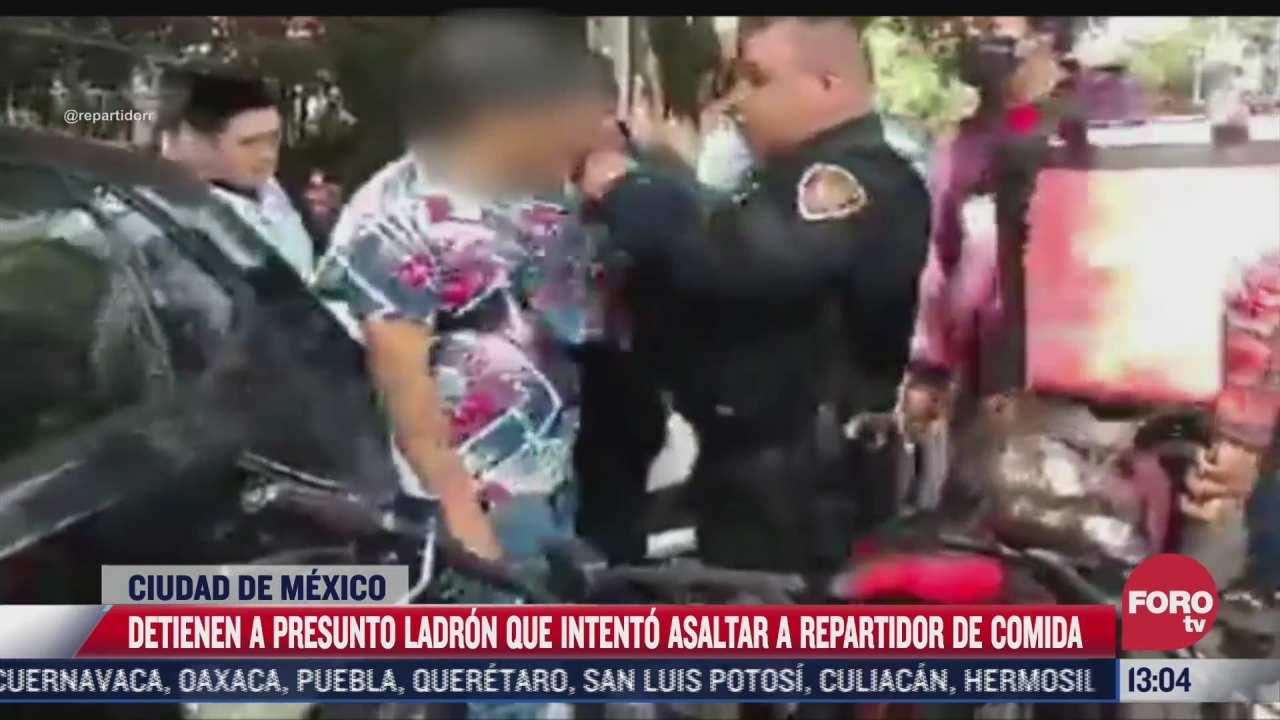 vecinos detienen a ladron que intento asaltar a repartidor de comida en cdmx