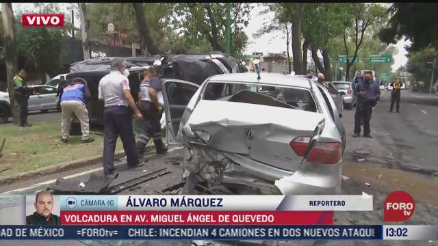 volcadura deja varios lesionados en avenida miguel angel de quevedo cdmx