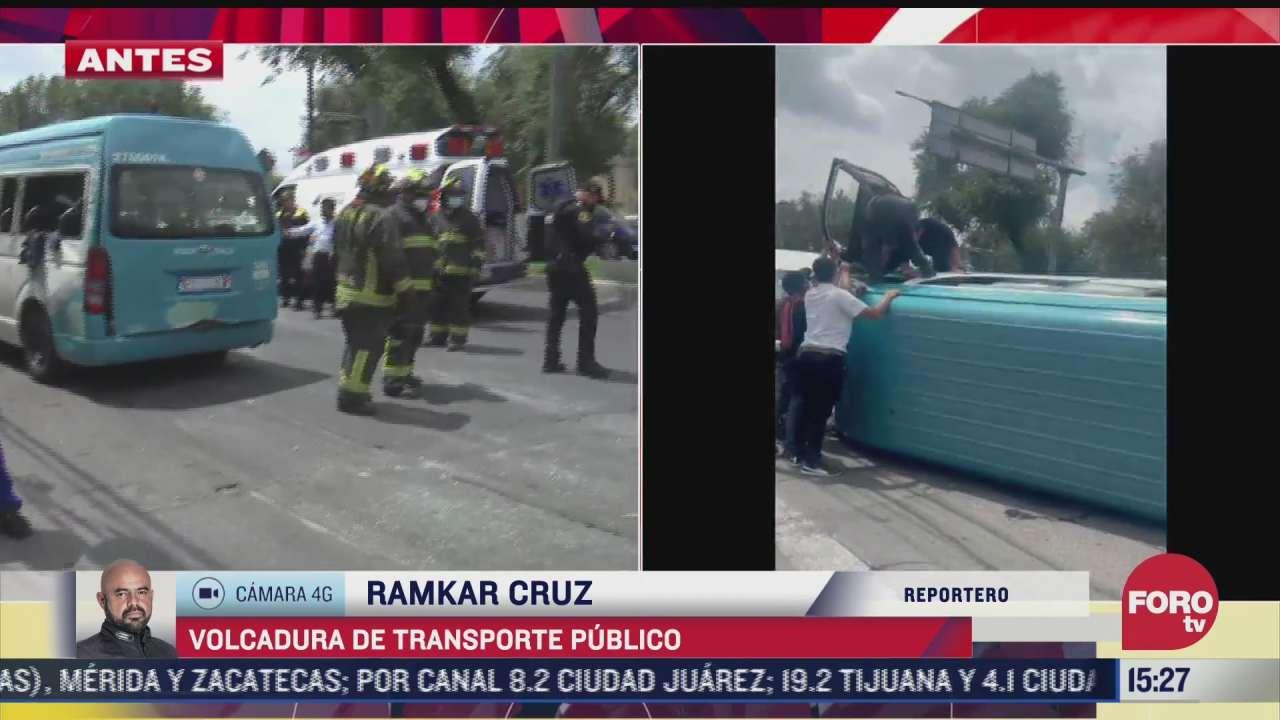 al menos 8 lesionados por volcadura de transporte publico en cdmx