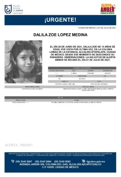 Activan Alerta Amber para localizar a Dalila Zoe López Medina
