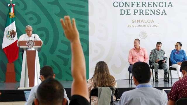 El presidente Andrés Manuel López Obrador (AMLO) en su conferencia matutina desde Culiacán, Sinaloa.