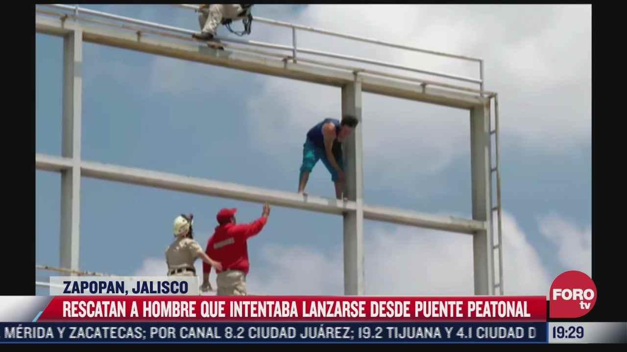 bomberos evitan suicidio desde puente en zapopan jalisco