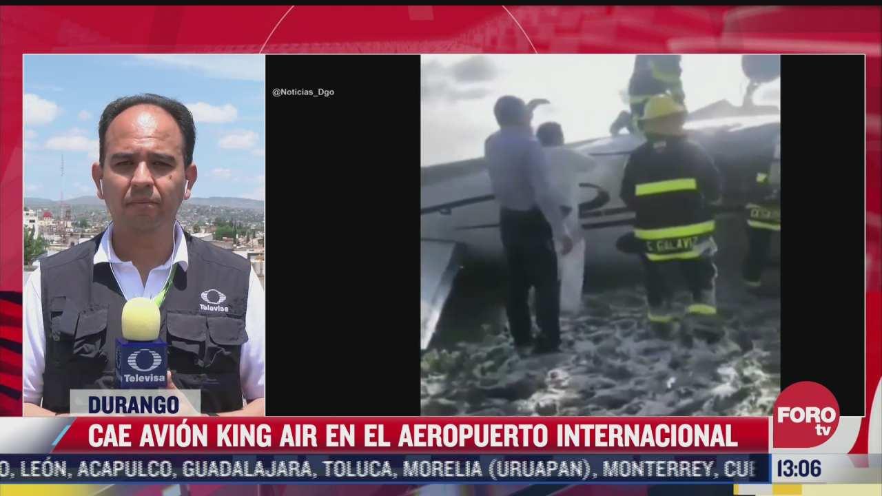 cae avion king air en el aeropuerto internacional de durango