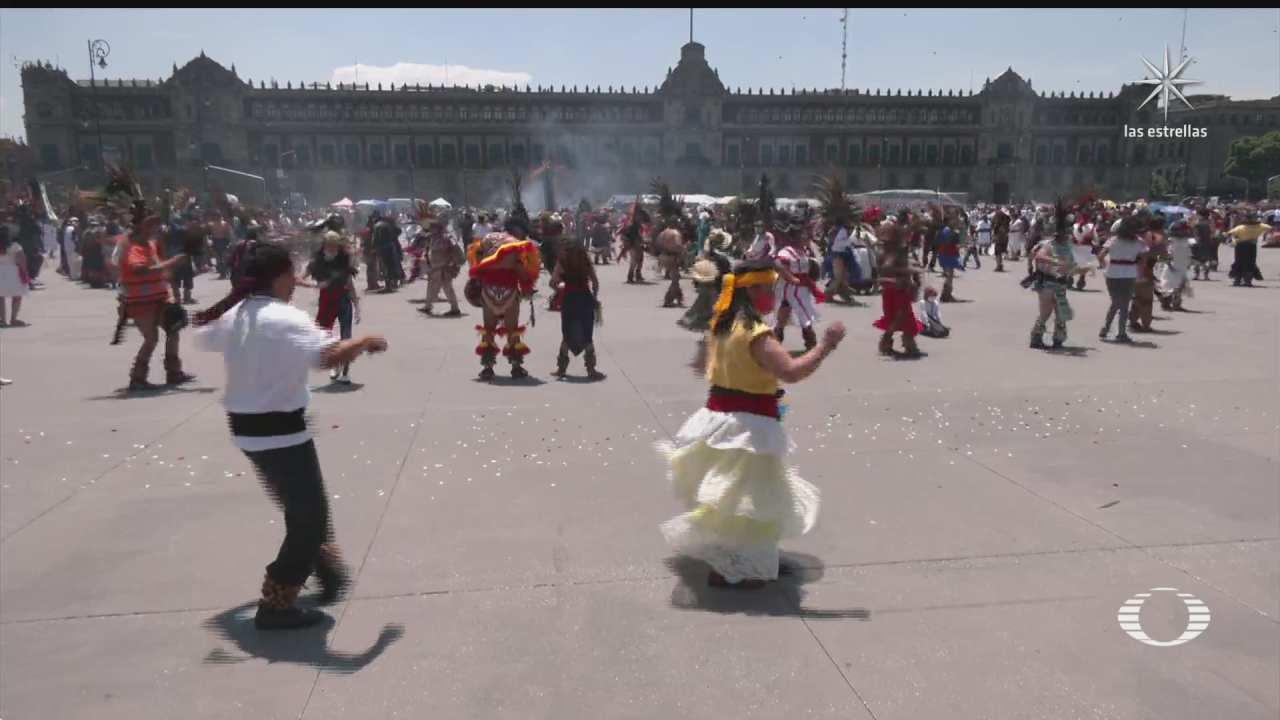 danzantes celebran fundacion de mexico tenochtitlan en el zocalo capitalino