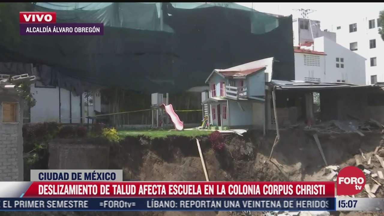 deslizamiento de talud afecta a escuela privada en la colonia corpus christi