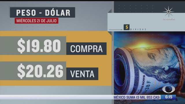 el dolar se vendio en 20 26 en la cdmx del 21 julio