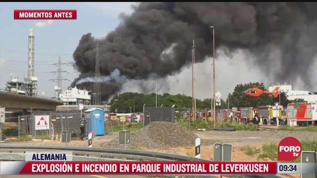 explosion e incendio en parque industrial de leverkusen alemania