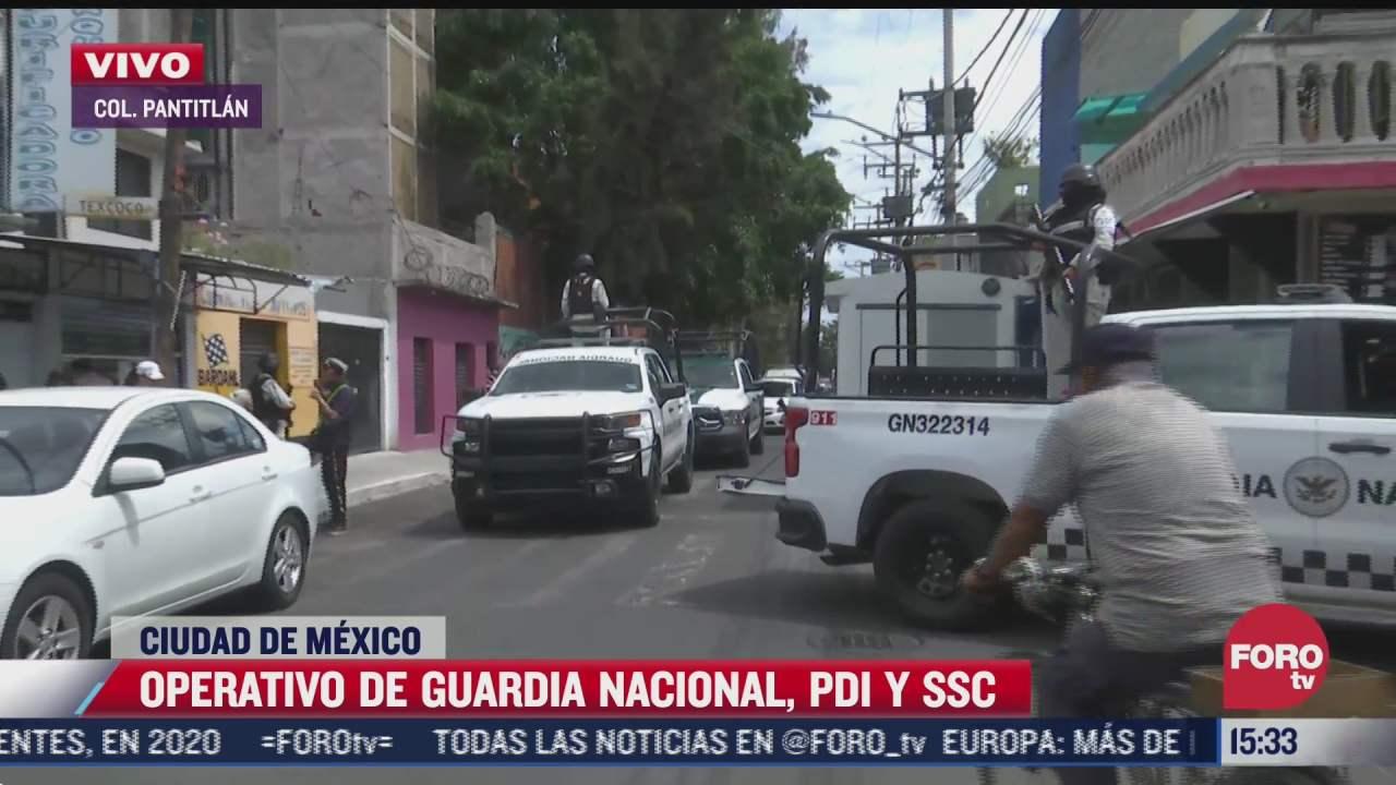 guardia nacional y ssc realizan operativo en la colonia pantitlan