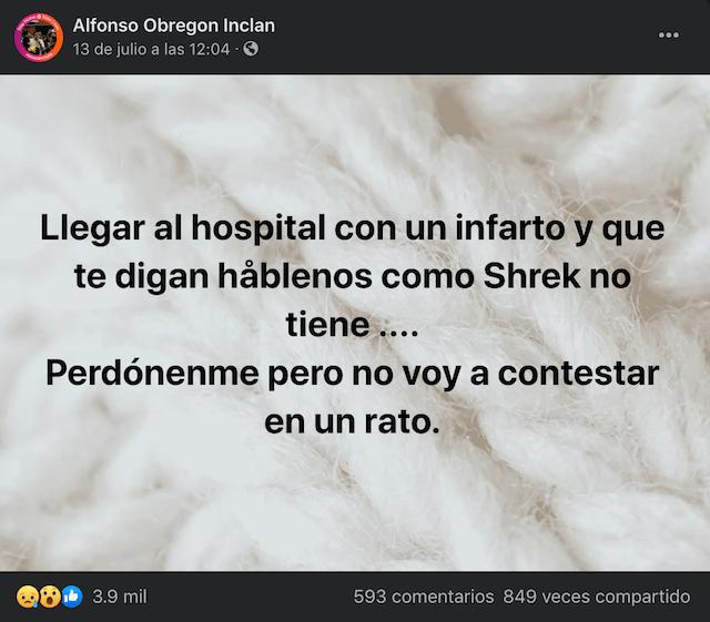 Alfonso Obregón Inclán Mensaje Hospital