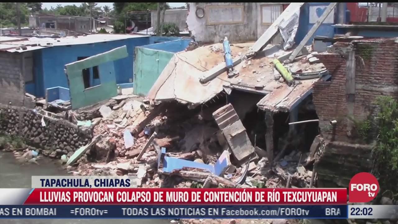 lluvias provocan colapso de muro de rio texcuyuapan en chiapas