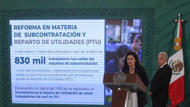 La titular de la STPS en conferencia de prensa matutina encabezada por el presidente Andrés Manuel López Obrador