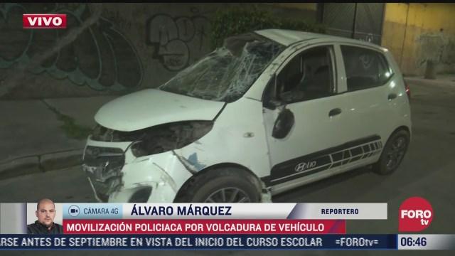 movilizacion policiaca por volcadura de vehiculo en santa martha acatitla cdmx