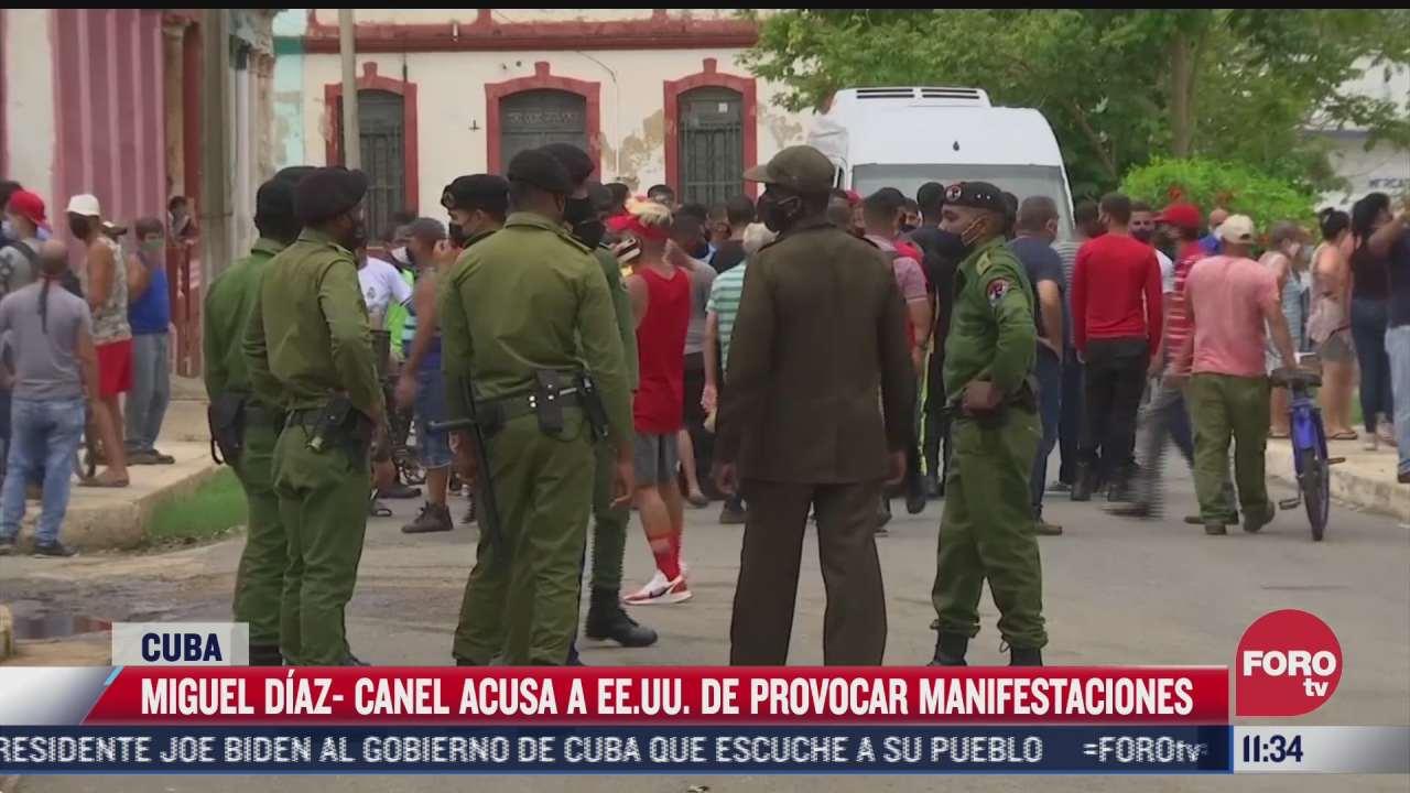 presidente de cuba acusa a eeuu de provocar manifestaciones