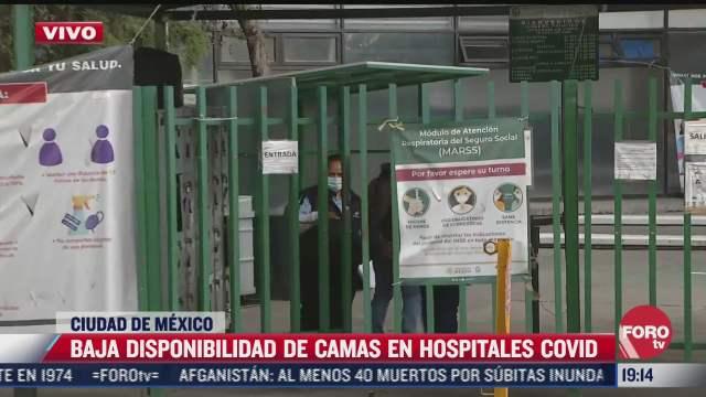 reportan baja disponibilidad de camas en hospitales covid de cdmx