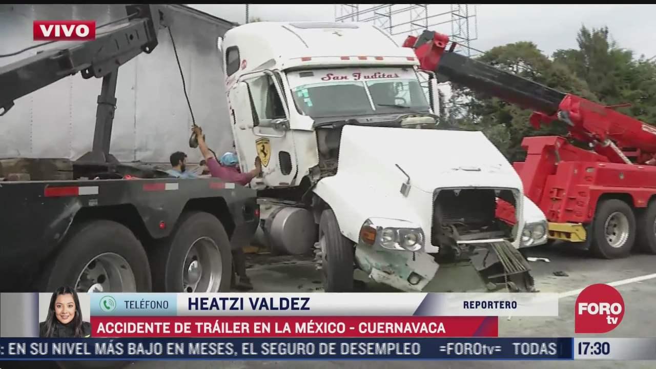se registra aparatoso accidente de trailer en la mexico cuernavaca