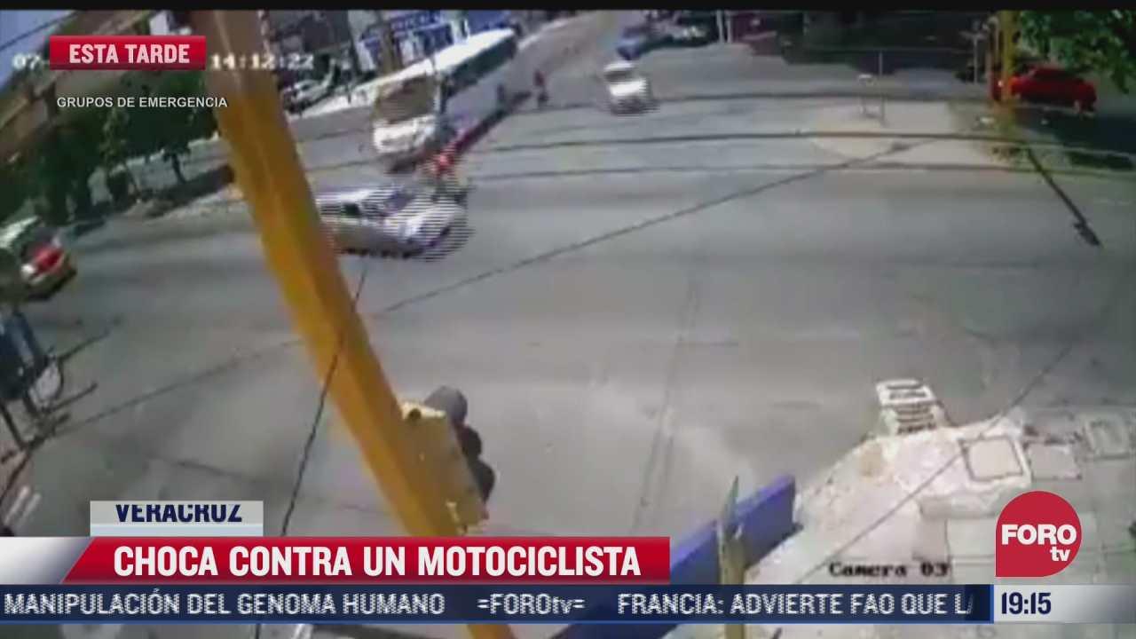 vehiculo choca a motociclista en veracruz