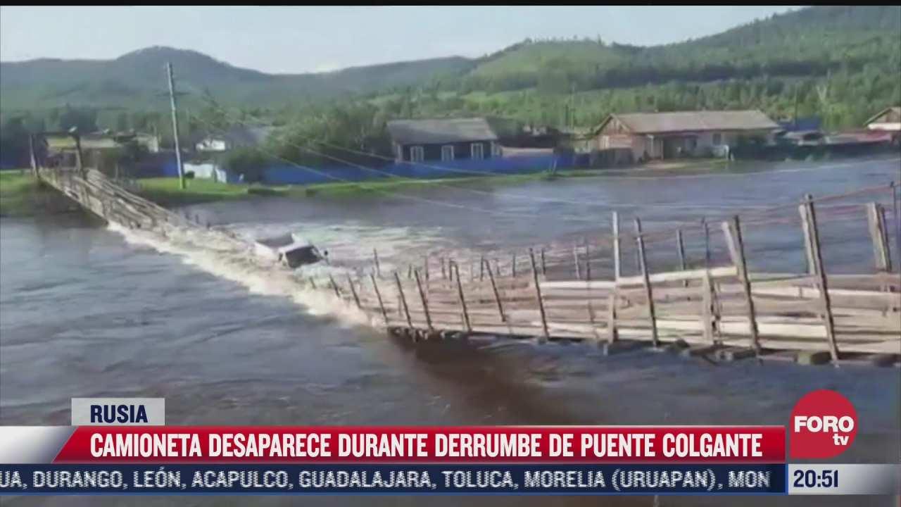 video camioneta cae a rio tras colapsar puente colgante en rusia