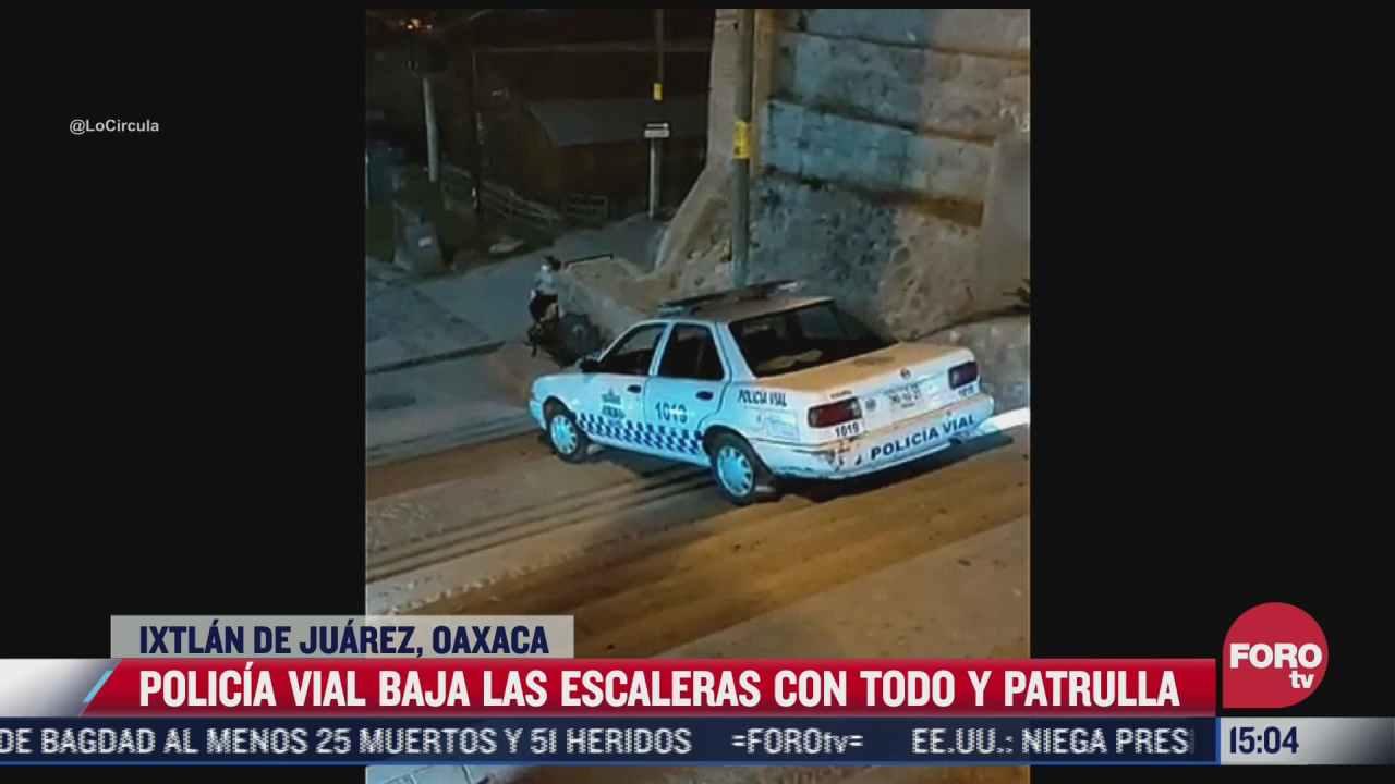video policia baja escaleras con patrulla en ixtlan de juarez oaxaca