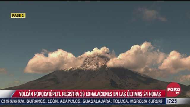 volcan popocatepetl registra 39 exhalaciones en las ultimas 24 horas