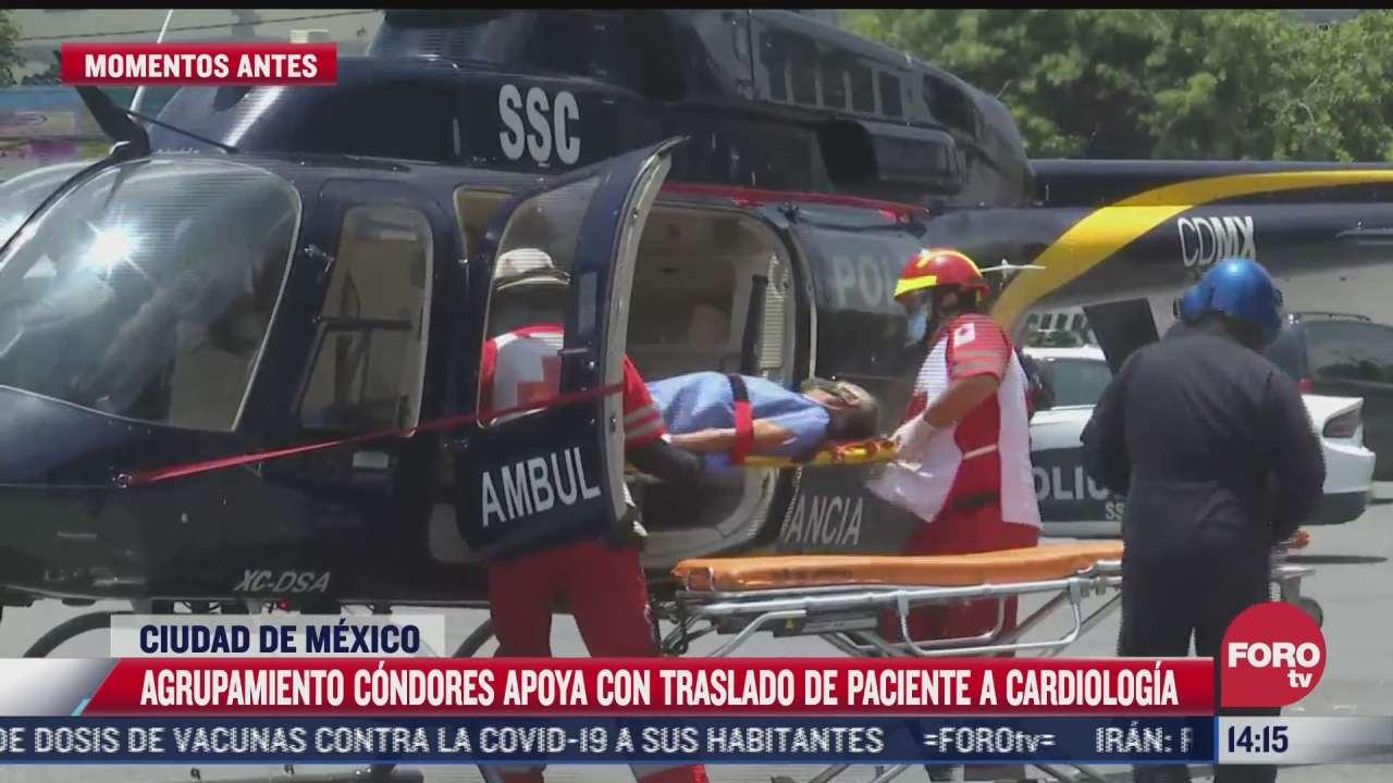 helicoptero de grupo condores apoya a traslado de paciente en cdmx
