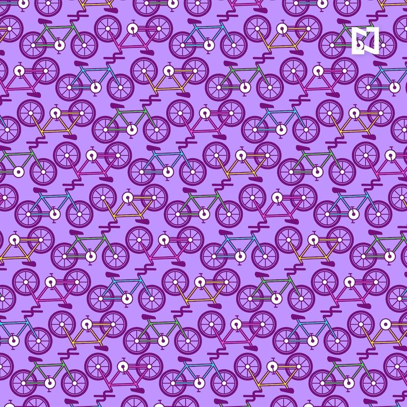 Encuentra dos bicicletas sin pedales, ilustración
