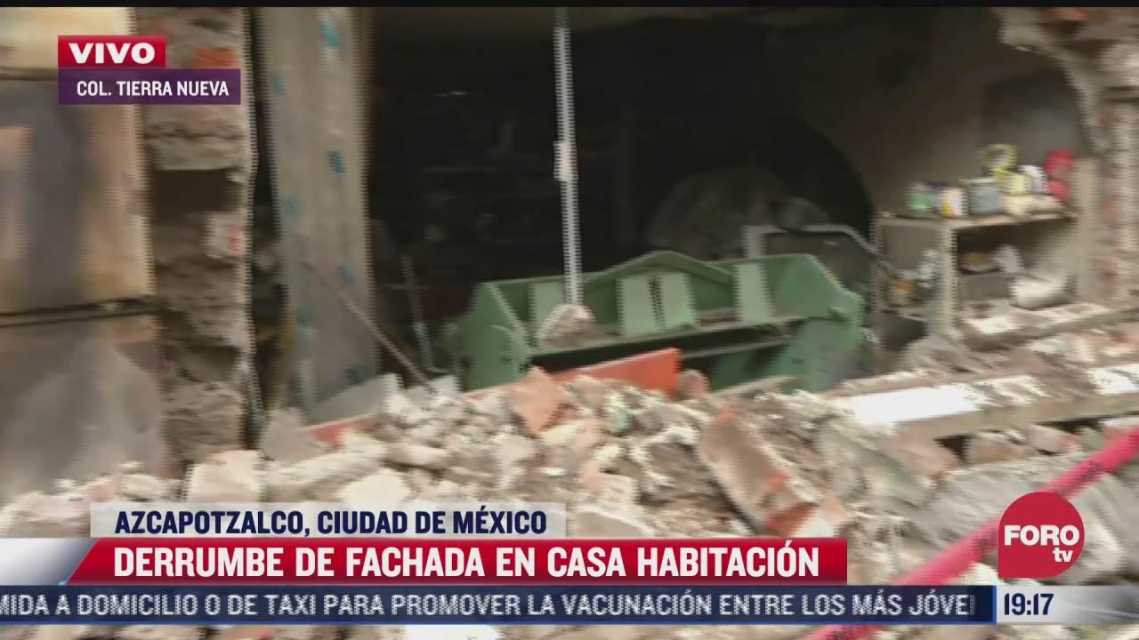 se registra derrumbe de fachada en casa habitacion de azcapotzalco