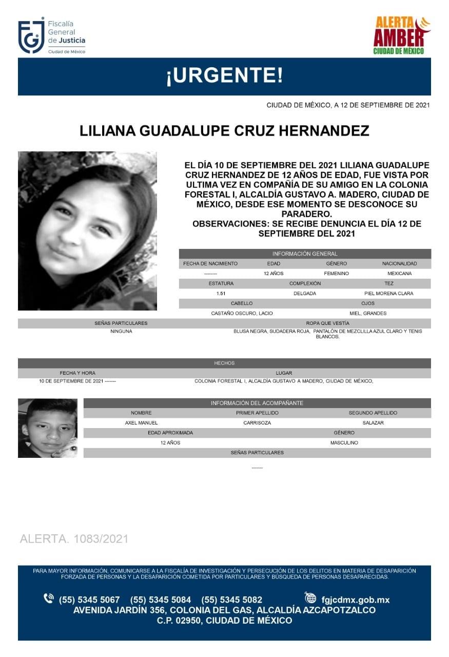 Activan Alerta Amber para localizar a Liliana Guadalupe Cruz Hernández