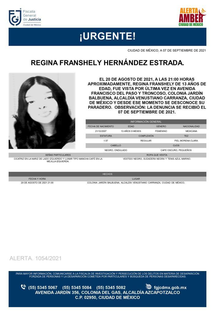 Activan Alerta Amber para localizar a Regina Franshely Hernández Estrada