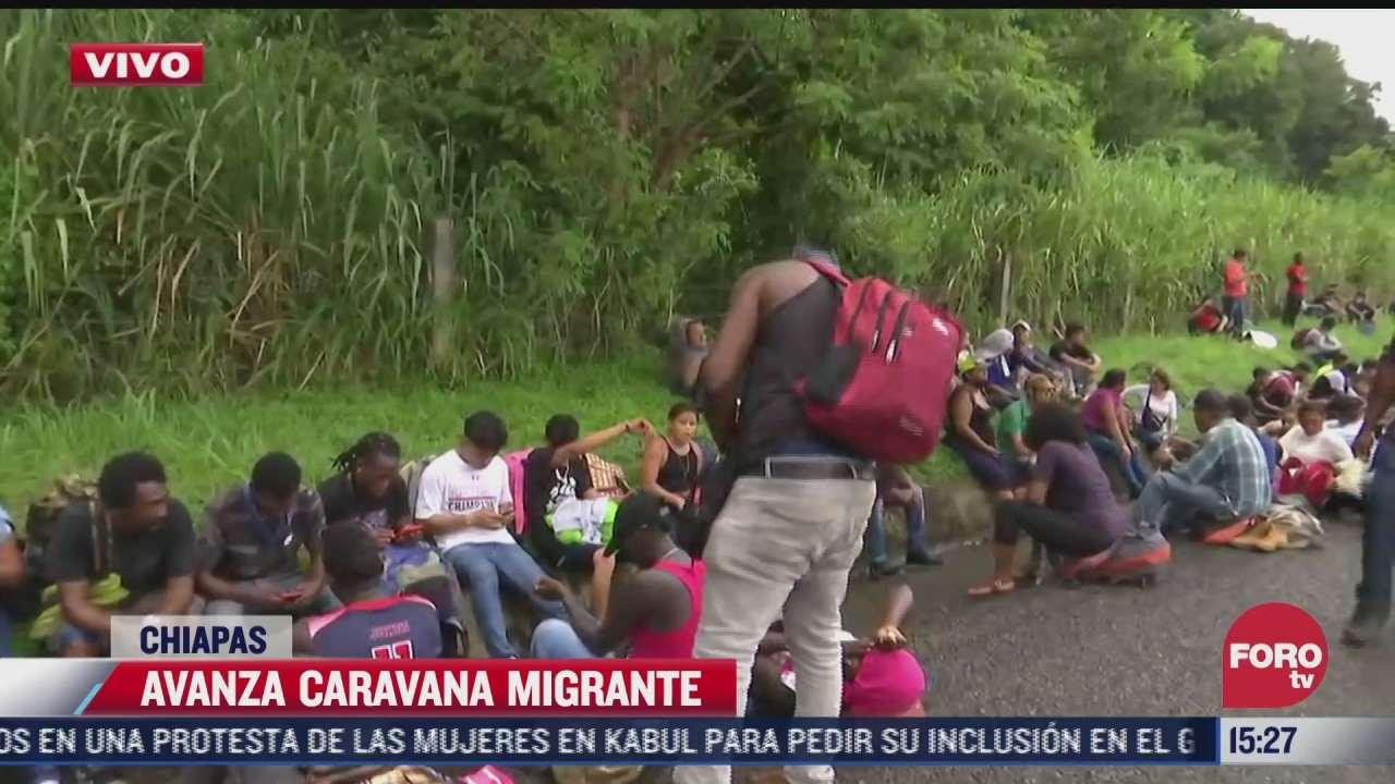 avanza caravana migrante en chiapas