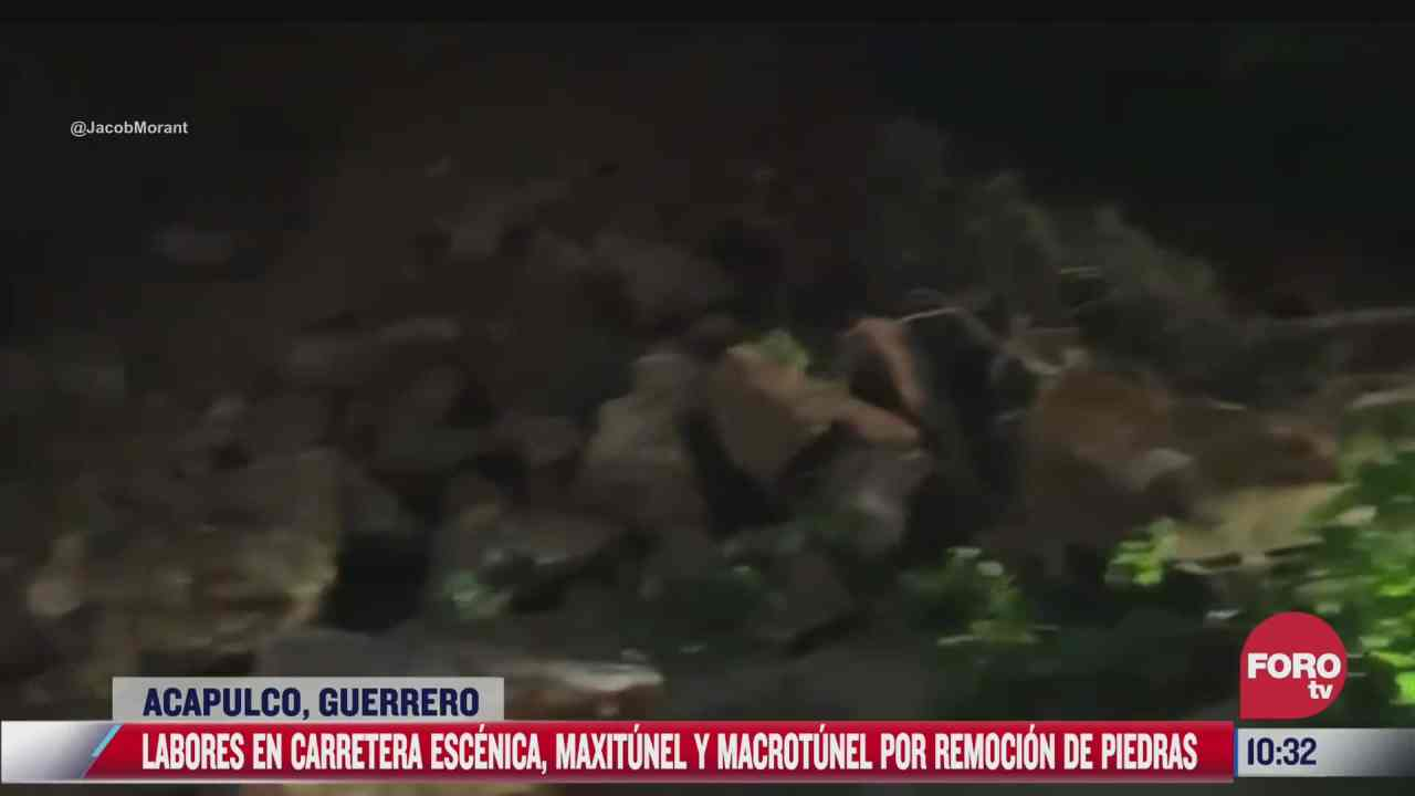 caen piedras sobre carretera escenica maxitunel y macrotunel tras sismo