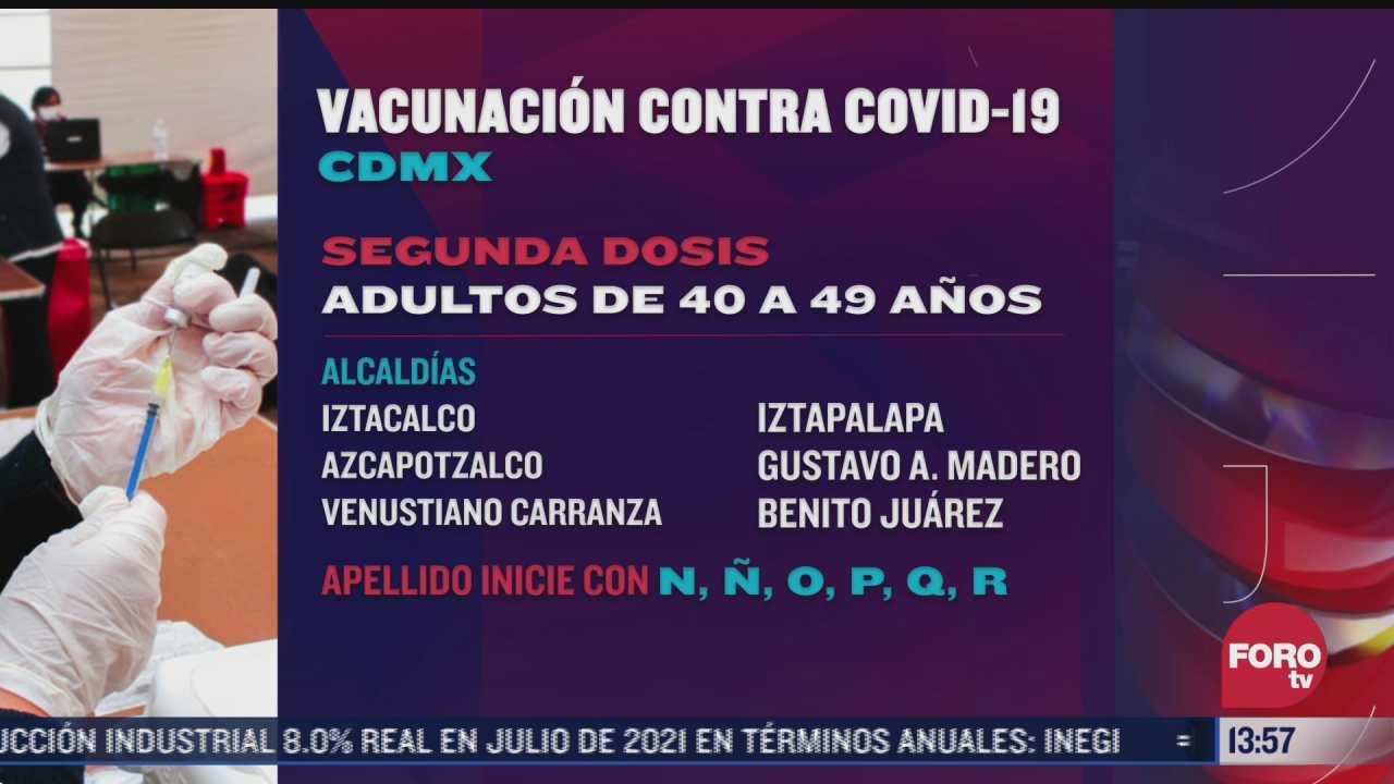 cdmx continua aplicacion de segunda dosis de vacuna contra covid