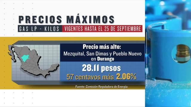 cuales son los precios del gas lp vigentes hasta el 26 de septiembre de