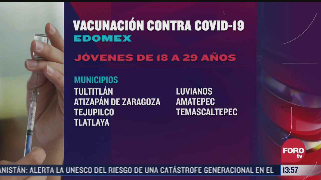 edomex aplica vacuna contra covid a jovenes de 18 a 29 anos en 7 municipios